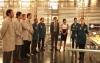 "BONES:   Brennan (Emily Deschanel, R) brings all the Jeffersonian interns in for a special project in the ""The Patriot in Purgatory"" episode of BONES airing Monday, Nov. 12 (8:00-9:00 PM ET/PT) on FOX.  Also pictured L-R: Pej Vahdat, Luke Kleintank, Michael Grant Terry, Joel David Moore, Eugene Byrd, TJ Thyne, John Francis Daley, Tamara Taylor and Michaela Conlin.  ©2012 Fox Broadcasting Co.  Cr:  Patrick McElhenney/FOX"