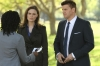 "BONES:   Brennan (Emily Deschanel, L) and Booth (David Boreanaz, R) question the wife of a man who has been missing since the 9/11 terrorist attacks in the ""The Patriot in Purgatory"" episode of BONES airing Monday, Nov. 12 (8:00-9:00 PM ET/PT) on FOX.  ©2012 Fox Broadcasting Co.  Cr:  Patrick McElhenney/FOX"