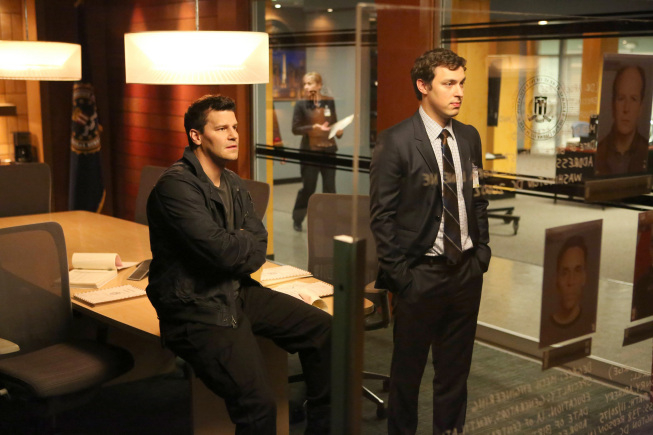 "BONES:  Booth (David Boreanaz, L) and Sweets (John Francis Daley, R) review possible suspects in their case in the ""The Doom in the Gloom"" episode of BONES airing Monday, March 18 (8:00-9:00 PM ET/PT) on FOX.  ©2013 Fox Broadcasting Co.  Cr:  Adam Taylor/FOX"