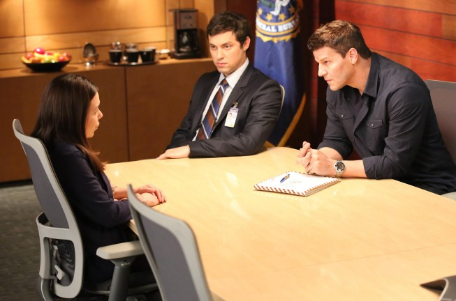 """BONES:  Booth (David Boreanaz, R) and Sweets (John Francis Daley, C) interview a suspect (guest star Gloria Garayua, L) in their case in the """"The Doom in the Gloom"""" episode of BONES airing Monday, March 18 (8:00-9:00 PM ET/PT) on FOX.  ©2013 Fox Broadcasting Co.  Cr:  Adam Taylor/FOX"""