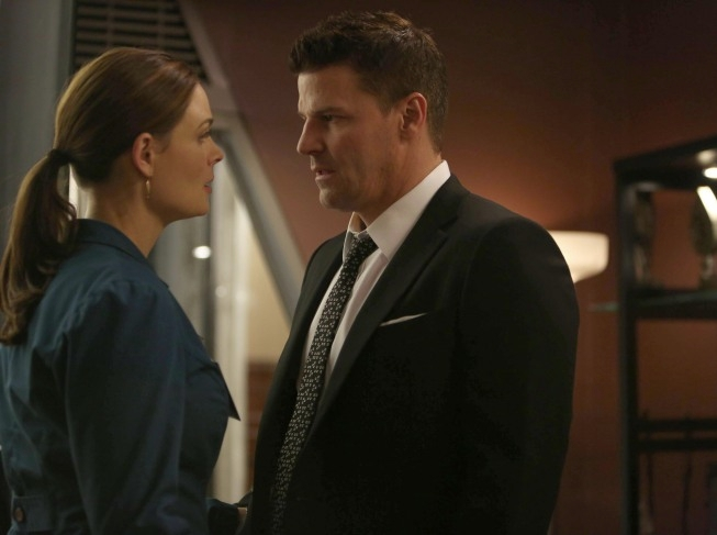"""BONES: Brennan (Emily Deschanel, L) worries about Booth (David Boreanaz, R) when they investigate the murders of several FBI agents with whom Booth was close in the """"The Secret in the Siege"""" season finale episode of BONES airing Monday, April 29 (8:00-9:00 PM ET/PT) on FOX. ©2013 Fox Broadcasting Co. Cr: Beth Dubber/FOX"""