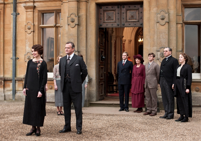 Downton Abbey Season 3 Sundays, January 6 - February 17, 2013 on MASTERPIECE on PBSFrom left to right: Elizabeth McGovern as Lady Grantham, Hugh Bonneville as Lord Grantham, Dan Stevens as Matthew Crawley, Penelope Wilton as Isobel Crawley, Allen Leech as Tom Branson, Jim Carter as Mr. Carson, and Phyllis Logan as Mrs. Hughes© Carnival Film & Television Limited 2012 for MASTERPIECEThis image may be used only in the direct promotion of MASTERPIECE CLASSIC. No other rights are granted. All rights are reserved. Editorial use only. USE ON THIRD PARTY SITES SUCH AS FACEBOOK AND TWITTER IS NOT ALLOWED.