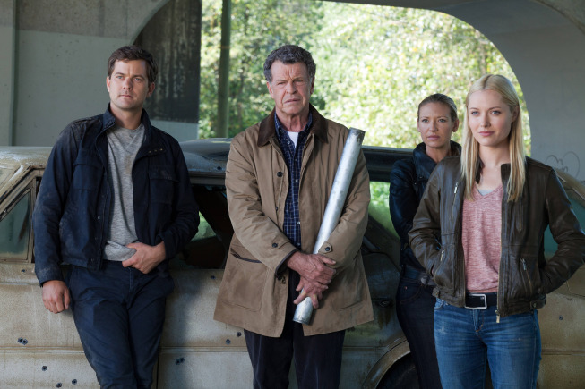 "FRINGE: Peter (Josh Jackson, L), Walter (John Noble, second from L), Olivia (Anna Torv, second from R) and Etta (guest star Georgina Haig, R) track a lead in the ""The Bullet That Saved the World"" episode of FRINGE airing Friday, Oct. 26  (9:00-10:00 PM ET/PT) on FOX. ©2012 Fox Broadcasting Co. CR: Liane Hentscher/FOX"