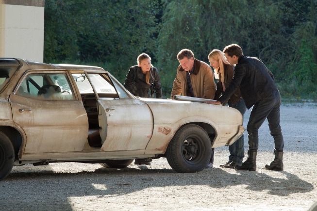 "FRINGE: Olivia (Anna Torv, L) Walter (John Noble, second from L), Etta (guest star Georgina Haig, second from R) and Peter (Josh Jackson, R) track a lead in the ""The Bullet That Saved the World"" episode of FRINGE airing Friday, Oct. 26  (9:00-10:00 PM ET/PT) on FOX. ©2012 Fox Broadcasting Co. CR: Liane Hentscher/FOX"