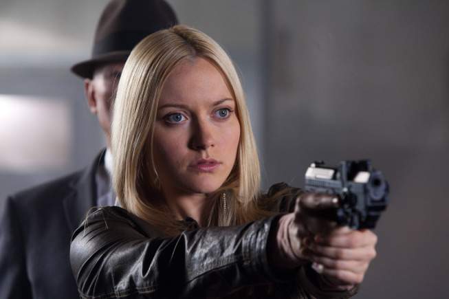 "FRINGE: Etta (guest star Georgina Haig) battles an observer in the ""The Bullet That Saved the World"" episode of FRINGE airing Friday, Oct. 26  (9:00-10:00 PM ET/PT) on FOX. ©2012 Fox Broadcasting Co. CR: Liane Hentscher/FOX"