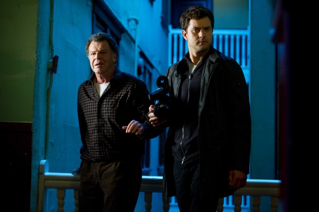 "FRINGE: Walter (John Noble, L) and Peter (Josh Jackson, R) run from the Observers in the ""Through the Looking Glass (And What Walter Found There)"" episode of FRINGE airing Friday, Nov. 9 (9:00-10:00 PM ET/PT) on FOX. ©2012 Fox Broadcasting Co. CR: Diyah Pera/FOX"