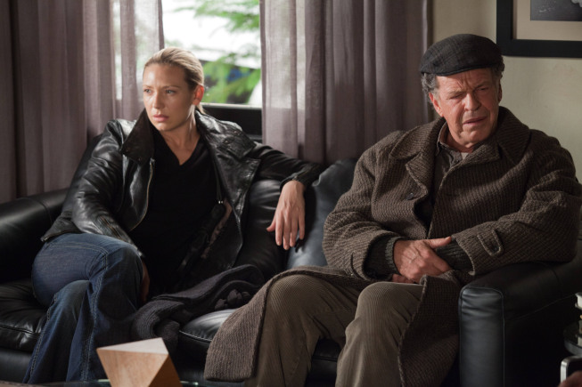 "FRINGE: Olivia (Anna Torv, L) and Walter (John Noble, R) learn the origin of the Child Observer in the all-new ""This Boy Must Live"" episode of FRINGE airing Friday, Jan.11 (9:00-10:00 PM ET/PT) on FOX. ©2012 Fox Broadcasting Co. CR: Liane Hentscher/FOX"