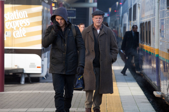 "FRINGE: Peter (Josh Jackson, L) and Walter (John Noble, R) track the loyalists in the monorail station in the all-new ""This Boy Must Live"" episode of FRINGE airing Friday, Jan.11 (9:00-10:00 PM ET/PT) on FOX. ©2012 Fox Broadcasting Co. CR: Liane Hentscher/FOX"