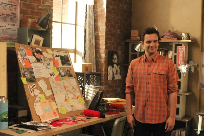 "NEW GIRL:  Nick (Jake Johnson) reveals he has made a board about one of Jess' students in the ""Pepperwood"" episode of NEW GIRL airing Tuesday, Jan. 22 (9:00-9:30 PM ET/PT) on FOX.  ©2012 Fox Broadcasting Co.  Cr: Patrick McElhenney/FOX"
