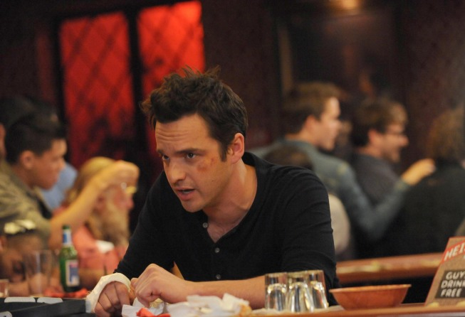 "NEW GIRL:  Nick's (Jake Johnson) idea to promote the bar doesn't go as planned in the ""Guys Night"" episode of NEW GIRL airing Tuesday, March 19 (9:00-9:30 PM ET/PT) on FOX.  ©2013 Fox Broadcasting Co.  Cr:  Ray Mickshaw/FOX"