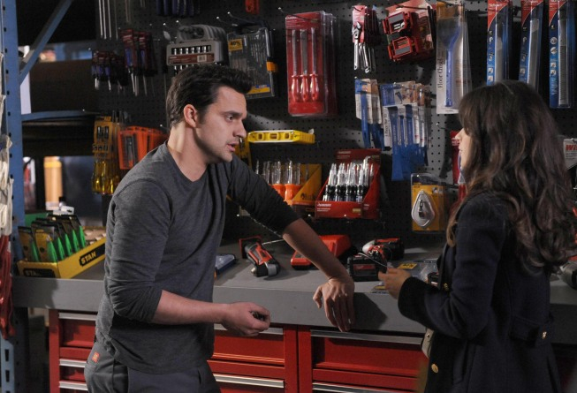 "NEW GIRL:  Jess (Zooey Deschanel, R) helps Nick (Jake Johnson, L) at the hardware store in the ""Guys Night"" episode of NEW GIRL airing Tuesday, March 19 (9:00-9:30 PM ET/PT) on FOX.  ©2013 Fox Broadcasting Co.  Cr:  Ray Mickshaw/FOX"