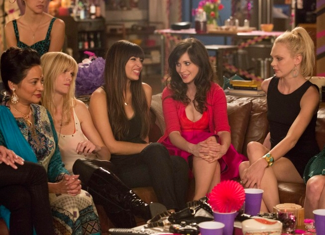 """NEW GIRL:  Jess (Zooey Deschanel, second from R) throws Cece (Hannah Simone, C) a surprise party in the """"Bachelorette Party"""" episode of NEW GIRL airing Tuesday, April 9 (9:00-9:30 PM ET/PT) on FOX.  Also pictured guest stars: Britni Stanwood (R), Parker Block (second from L) and Roma Chugani (L).  ©2013 Fox Broadcasting Co.  Cr: Jennifer Clasen/FOX"""