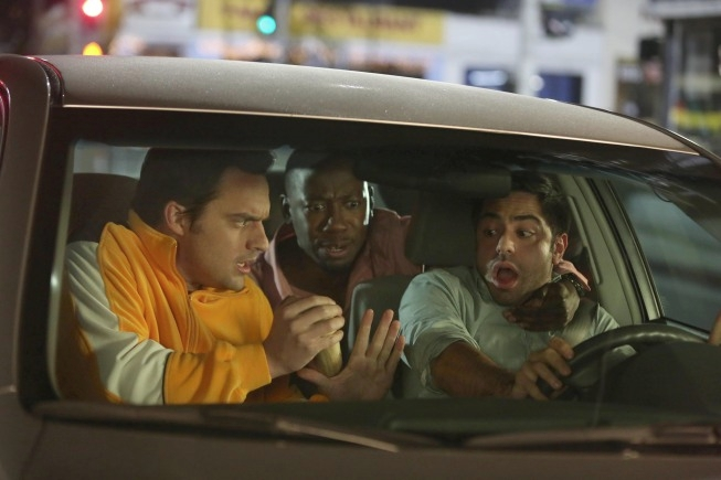 "NEW GIRL:  Nick (Jake Johnson, L) and Winston (Lamorne Morris, C) kidnap Cece's fiance, Shivrang (guest star Satya Bhabha, R) to take him out to the bar in the ""Bachelorette Party"" episode of NEW GIRL airing Tuesday, April 9 (9:00-9:30 PM ET/PT) on FOX.  ©2013 Fox Broadcasting Co.  Cr: Patrick McElhenney/FOX"