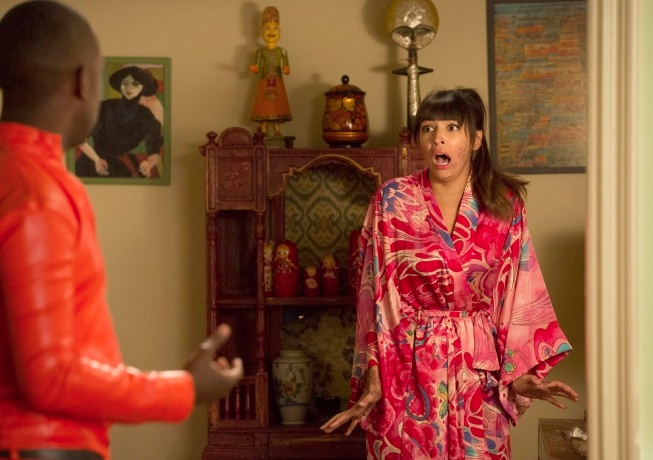 "NEW GIRL:  Cece (Hannah Simone) is shocked to learn she has mistakenly hennaed her face the day before her wedding in the ""Winston's Birthday"" episode of NEW GIRL airing Tuesday, May 7 (9:00-9:30 PM ET/PT) on FOX. ©2013 Fox Broadcasting Co. Cr:  Jennifer Clasen/FOX"