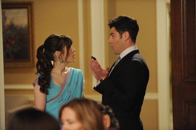 "NEW GIRL:  Jess (Zooey Deschanel, L) realizes that Schmidt (Max Greenfield, R) is planning to sabotage Cece's wedding in the ""Elaine's Big Day"" season finale episode of NEW GIRL airing Tuesday, May 14 (9:00-9:30 PM ET/PT) on FOX.  ©2013 Fox Broadcasting Co. Cr:  Ray Mickshaw/FOX"
