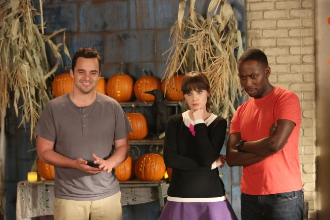 """NEW GIRL:  Jess (Zooey Deschanel, C), Nick (Jake Johnson, L) and Winston (Lamorne Morris, L) hope Schmidt will change his behavior in the """"Keaton"""" episode of NEW GIRL airing Tuesday, Oct. 22 (9:00-9:30 PM ET/PT) on FOX. ©2013 Fox Broadcasting Co. Cr: Mike Yarish/FOX"""