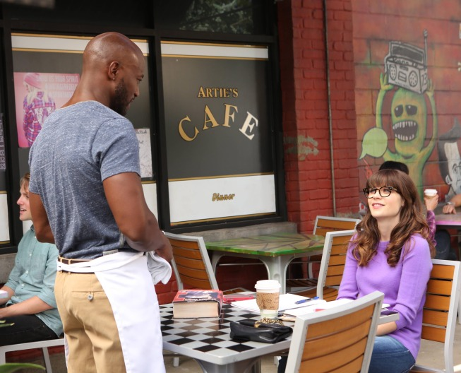 """NEW GIRL:  Jess (Zooey Deschanel, R) meets a handsome new guy (guest star Taye Diggs, L) in the """"Coach"""" episode of NEW GIRL airing Tuesday, Nov. 5 (9:00-9:30 PM ET/PT) on FOX.  ©2013 Fox Broadcasting Co.  Cr:  Adam Taylor/FOX"""