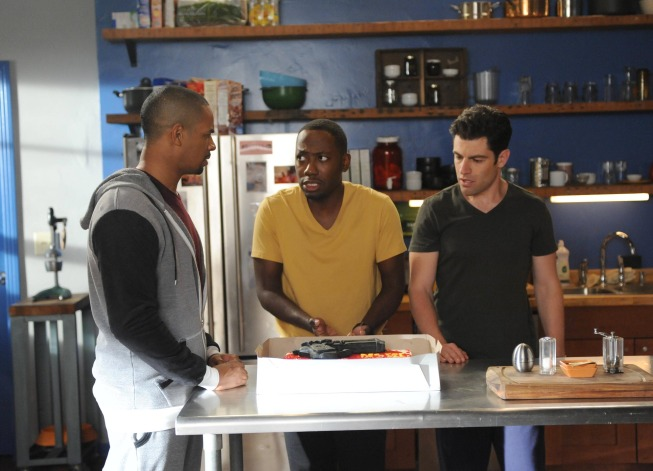 "NEW GIRL:  L-R:  Coach (Damon Wayans, Jr.), Winston (Lamorne Morris) and Schmidt (Max Greenfield) pick up the wrong cake for Jess in the ""Birthday"" episode of NEW GIRL airing Tuesday, Jan. 21 (9:00-9:30 PM ET/PT) on FOX.  ©2013 Fox Broadcasting Co.  Cr:  Patrick McElhenney/FOX"