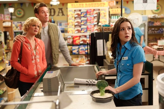 "RAISING HOPE: Sabrina (Shannon Woodward, R) fights with Virginia (Martha Plimpton, L) and Burt (Garret Dillahunt, C) over Arbor Day traditions in the ""Arbor Daze"" episode of RAISING HOPE airing Tuesday, Feb. 19 (8:00-8:30 PM ET/PT) on FOX. ©2013 Fox Broadcasting Co. CR: Greg Gayne/FOX"
