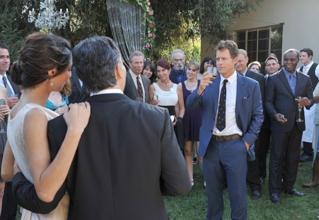 "RAKE:  Keegan (Greg Kinnear, R) gives a toast at Scarlett and Ben's recommitment ceremony in the ""A Close Shave"" episode of RAKE airing Thursday, Jan. 30 (9:00-10:00 PM ET/PT) on FOX.  ©2014 Fox Broadcasting Co.  Cr:  Richard Foreman/FOX"