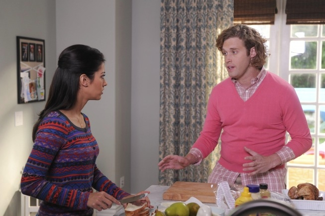 """THE GOODWIN GAMES:  Jimmy (T.J. Miller, R) tries to make amends with his daughter Piper's mom (guest star Janina Gavankar, L) in the """"Birds of Granby"""" episode of THE GOODWIN GAMES airing Monday, June 17 (8:30-9:00 PM ET/PT) on FOX. ©2013 Fox Broadcasting Co.  Cr:  Ray Mickshaw/FOX"""