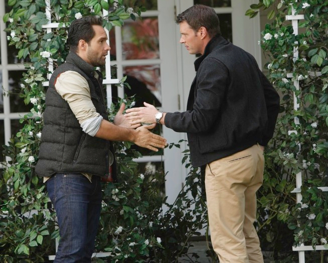 "THE GOODWIN GAMES:  Henry (Scott Foley, R) bonds with Chad (guest star Chris Diamantopoulos, L) in the ""Birds of Granby"" episode of THE GOODWIN GAMES airing Monday, June 17 (8:30-9:00 PM ET/PT) on FOX. ©2013 Fox Broadcasting Co.  Cr:  Jordin Althuas/FOX"