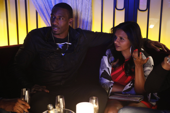 "THE MINDY PROJECT:  Mindy (Mindy Kaling, R) hangs out with NBA basketball player Amar'e Stoudemire (L) in the ""In the Club"" episode of THE MINDY PROJECT airing Tuesday, Oct. 9 (9:30-10:00 PM ET/PT) on FOX. ©2012 Fox Broadcasting Co. Cr: Greg Gayne/FOX"