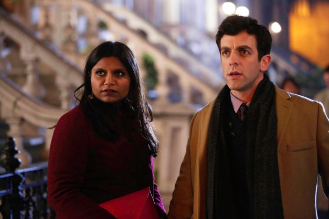 "THE MINDY PROJECT: Jaime (guest star B.J. Novak, R) and Mindy (Mindy Kaling, R) make a discovery after their date in the ""Harry & Mindy"" episode of THE MINDY PROJECT airing Tuesday, Feb. 5 (9:30-10:00 PM ET/PT) on FOX. ©2013 Fox Broadcasting Co. Cr: Beth Dubber/FOX"
