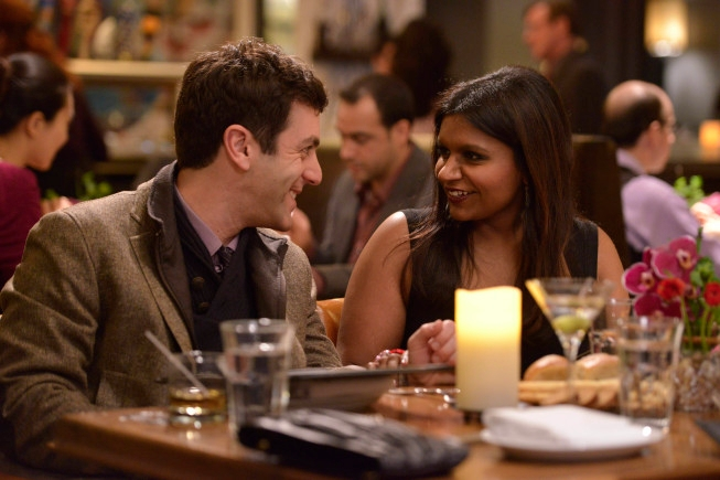 """THE MINDY PROJECT: Jaime (guest star B.J. Novak, L) and Mindy (Mindy Kaling, R) double-date on Valentine's Day in the """"Harry & Mindy"""" episode of THE MINDY PROJECT Tuesday, Feb. 5 (9:30-10:00 PM ET/PT) on FOX. ©2013 Fox Broadcasting Co. Cr: Beth Dubber/FOX"""