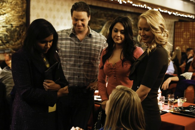"""THE MINDY PROJECT: Mindy (Mindy Kaling, L) arrives at her surprise birthday party in the """"Mindy's Birthday"""" episode of THE MINDY PROJECT airing Tuesday, March 19 (9:30-10:00 PM ET/PT) on FOX. Also pictured L-R: Ike Barinholtz, Kelen Coleman, Anna Camp and Mary Grill. ©2013 Fox Broadcasting Co. Cr: Jordin Althaus/FOX"""