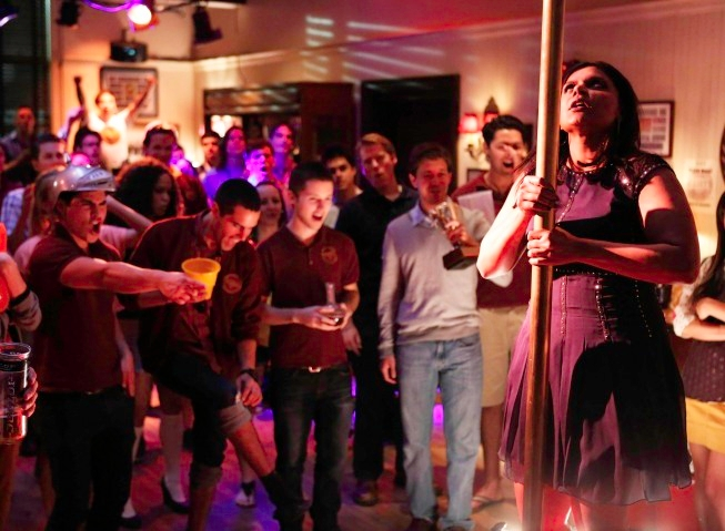 """THE MINDY PROJECT: Mindy (Mindy Kaling, R) blows off some steam at a frat party in the all-new """"Frat Party"""" episode of THE MINDY PROJECT airing Tuesday, May 7 (9:30-10:00 PM ET/PT) on FOX. ©2013 Fox Broadcasting Co. Cr: Jordin Althaus/FOX."""