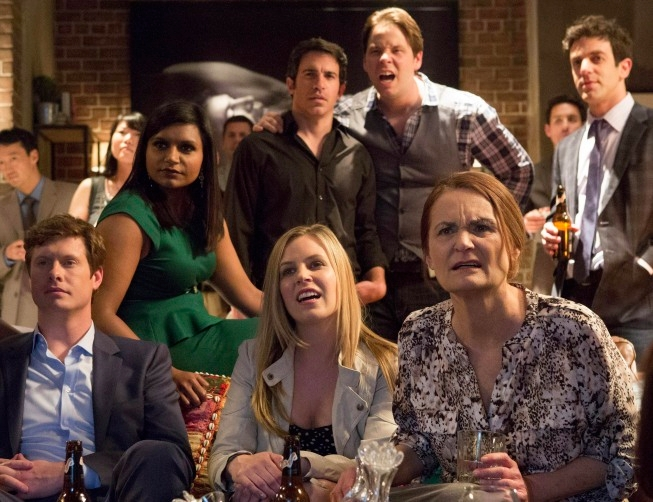 "THE MINDY PROJECT: The gang watches a funny video in the all-new ""Take Me With You"" episode of THE MINDY PROJECT airing Tuesday, May 14 (9:30-10:00 PM ET/PT) on FOX. ©2013 Fox Broadcasting Co. Cr: Jennifer Clasen/FOX. Pictured L-R: Anders Holm, Mindy Kaling, Chris Messina, Mary Grill, Ike Barinholtz, Beth Grant and B.J. Novak."