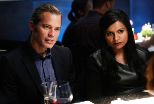 """THE MINDY PROJECT: Graham (guest star Timothy Olyphant, L) and Mindy (Mindy Kaling, R) go on a double date in the """"Sk8er Man"""" episode of THE MINDY PROJECT airing Tuesday, Nov. 5 (9:30-10:00 PM ET/PT) on FOX. ©2013 Fox Broadcasting Co. Cr: Jordin Althaus/FOX"""