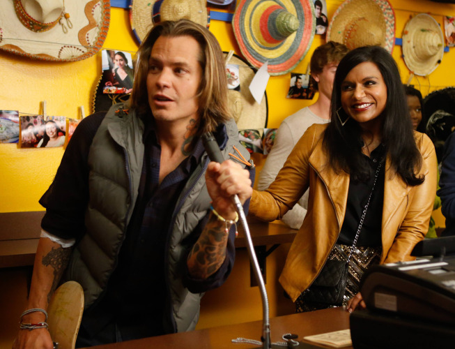"""THE MINDY PROJECT: Graham (guest star Timothy Olyphant, L) takes Mindy (Mindy Kaling, R) to a burrito joint in the """"Sk8er Man"""" episode of THE MINDY PROJECT airing Tuesday, Nov. 5 (9:30-10:00 PM ET/PT) on FOX. ©2013 Fox Broadcasting Co. Cr: Jordin Althaus/FOX"""