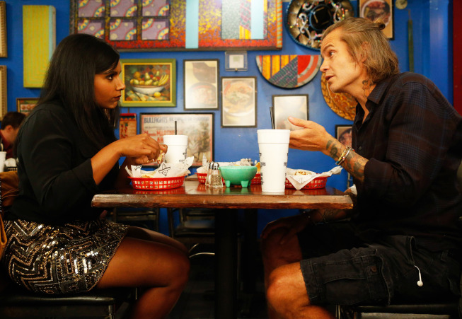 """THE MINDY PROJECT: Graham (guest star Timothy Olyphant, R) takes Mindy (Mindy Kaling, L) to a burrito joint in the """"Sk8er Man"""" episode of THE MINDY PROJECT airing Tuesday, Nov. 5 (9:30-10:00 PM ET/PT) on FOX. ©2013 Fox Broadcasting Co. Cr: Jordin Althaus/FOX"""